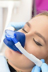 Patient with nitrous oxide nose mask