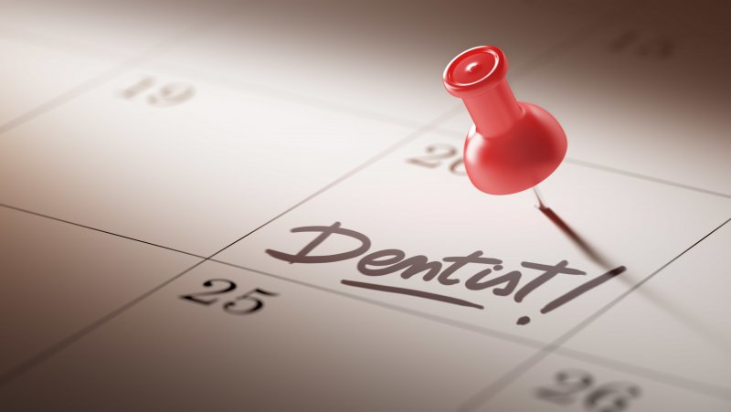 A calendar highlighting an appointment for dental implant surgery.